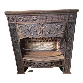 Antique Art Nouveau Iron Fireplace Insert For Sale