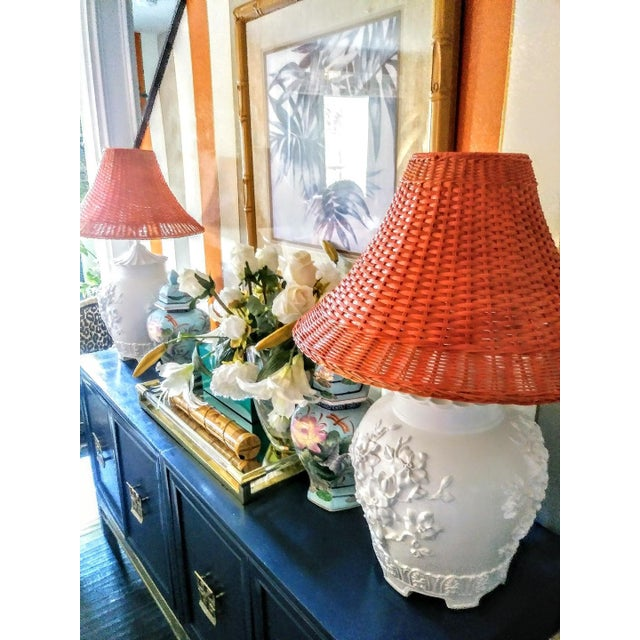 Orange A Pair Vintage Floral Gloss White Large Pagoda Table Lamps W/Bright Orange Wicker Shades For Sale - Image 8 of 10