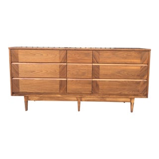 Mid Century 9 Drawer Lowboy by Dixie For Sale