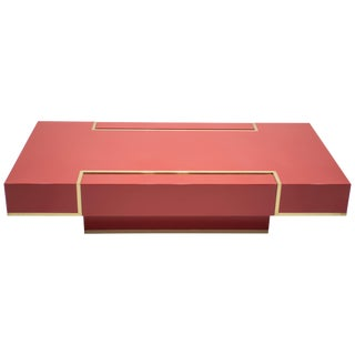 Rare j.c. Mahey Red Lacquer and Brass Coffee Table, 1970s For Sale