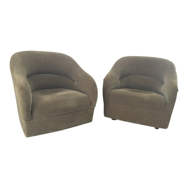 Pair of Ward Bennett Mohair Club Chairs For Sale