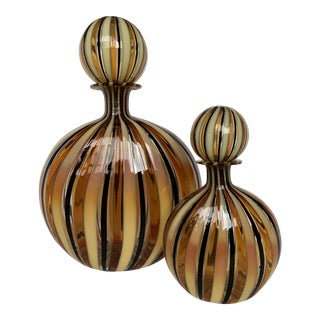 Adriano Dalla Valentina for Oggetti Striped Murano Art Glass Bottles - a Pair For Sale