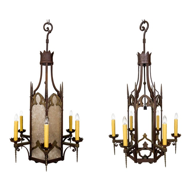 Large Antique Gothic Revival Bronze & Mica Lanterns (2 Available) For Sale