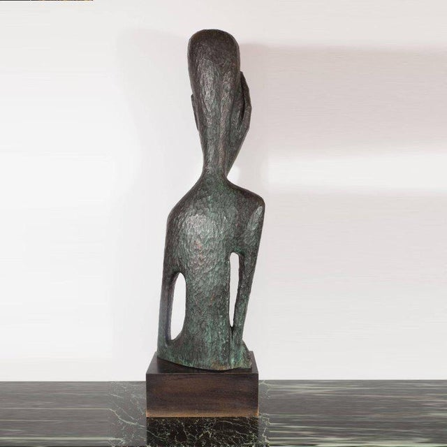Signed Mid Century Modern Large Scale Patinated Bronze Sculpture For Sale - Image 4 of 10