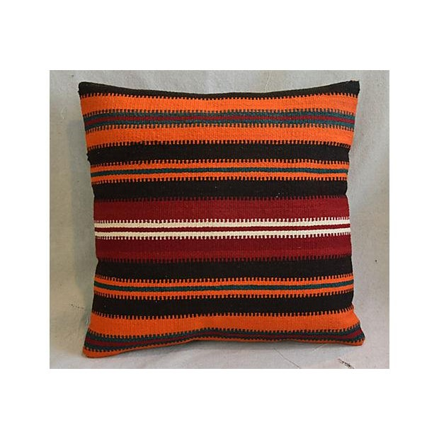 """20"""" Custom Tailored Anatolian Turkish Kilim Wool Feather/Down Pillows - a Pair - Image 2 of 11"""