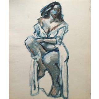 Mid Century Female Figure Painting California Artist For Sale