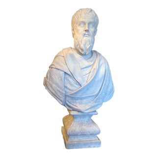 Large Early 19th Century Italian Baroque Style White Marble Bust of a Scholar For Sale