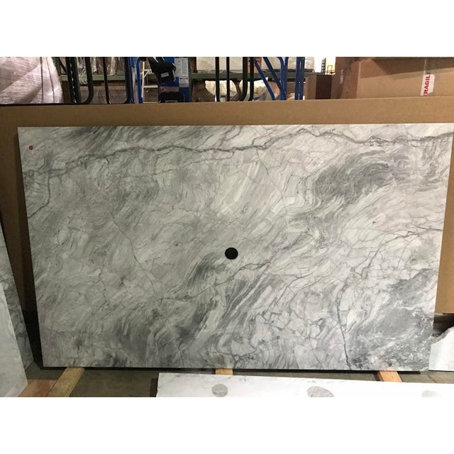 Carrara Marble Custom Carrera Marble Island or Counter Top For Sale - Image 7 of 9