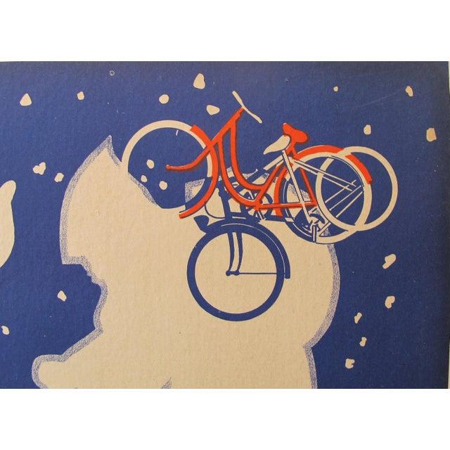 """1938 Original Advertising Banner, """"Pas De Belles étrennes Sans Bicyclette"""" For Sale - Image 4 of 5"""