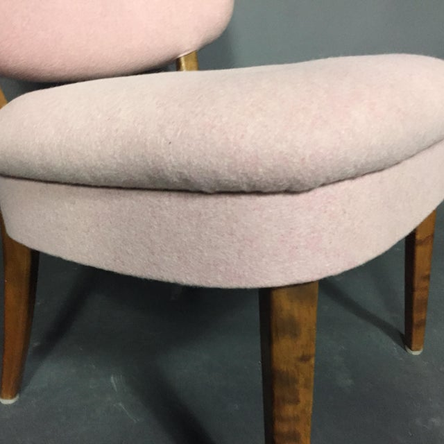 "Pink 1940s Swedish ""Emma"" Chair in Pink Felted Wool For Sale - Image 8 of 9"
