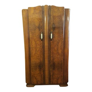 P64 Small Deco Walnut Armoire. Uk Import