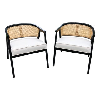 Harvey Probber Style Caned Barrel Back Chairs - A Pair