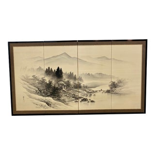 Japanese 4 Panel Byobu Silk and Bamboo Table Screen Divider For Sale