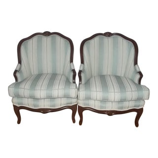 19th Century Louis XV Style Bergere Chairs - a Pair For Sale