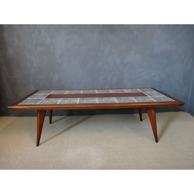 Mid-Century Coffee Table with Aztec Pattern Tiles - Image 3 of 6