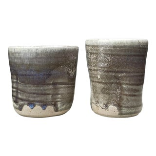 1960s Mid Century Carole Armstrong Japanese Glazed Teacups - a Pair For Sale