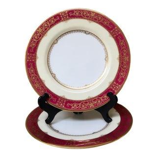 Antique Minton Plates Grasmere Crimson - a Pair For Sale