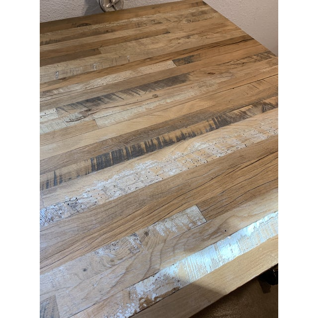 Industrial Reclaimed Wood and Metal Writing Table For Sale - Image 4 of 11