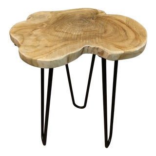 Small Natural Teak Side Table Mid-Century Modern Style