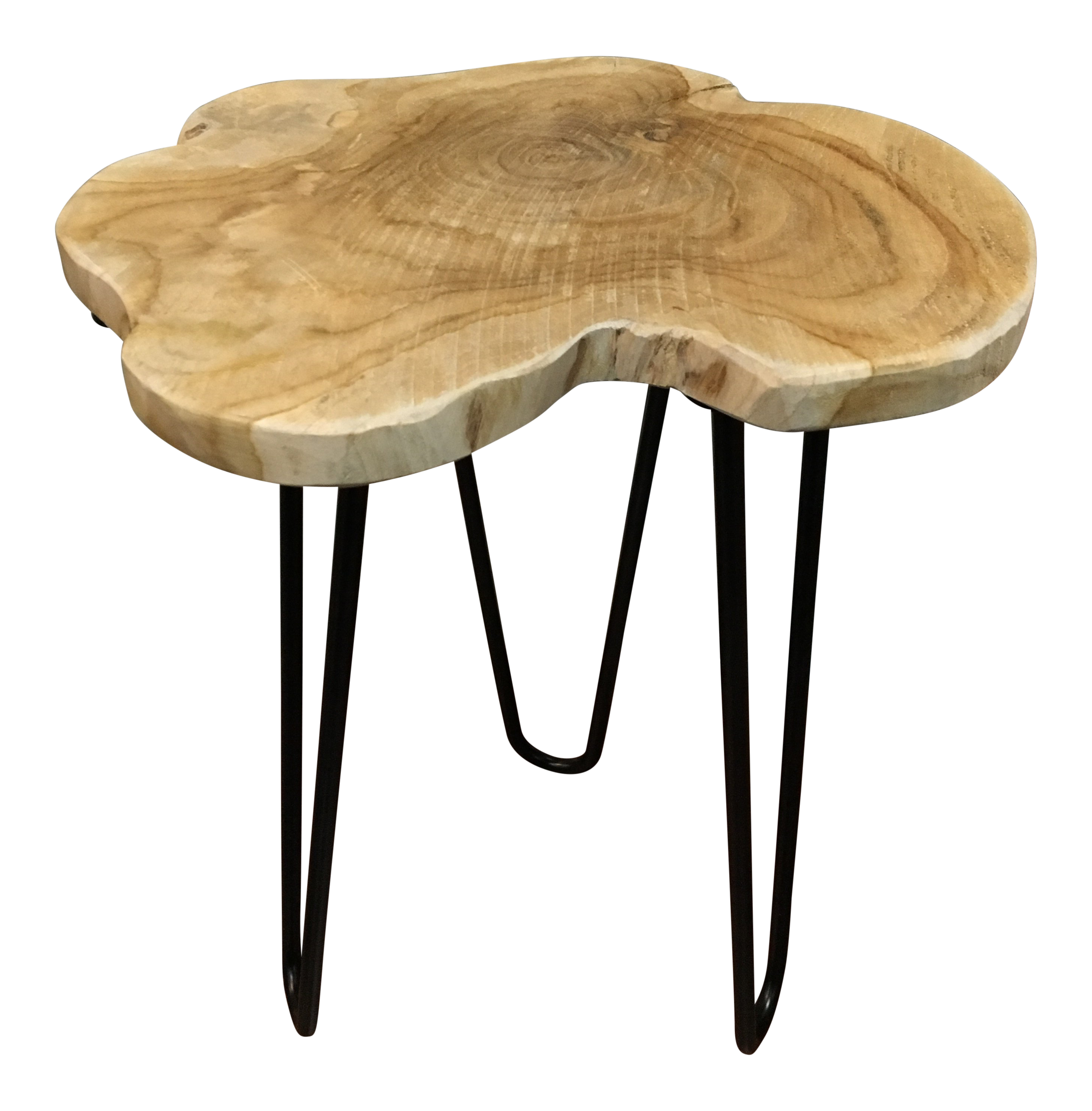 Small Natural Teak Side Table Mid Century Modern Style