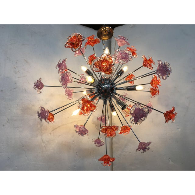 Contemporary Murano Glass Flowers Sputnik Chandelier For Sale - Image 6 of 12