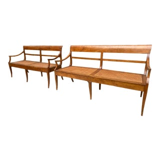 Antique Italian Elm Benches with Wicker Seat - a Pair For Sale