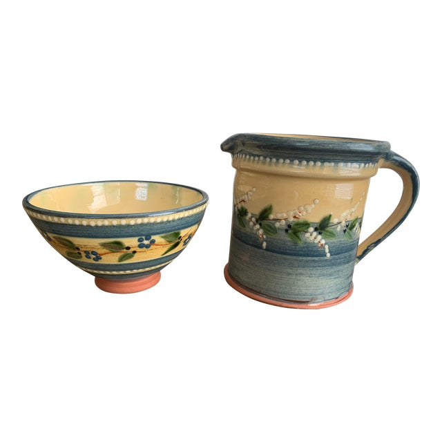 Vintage French Country Hand-Painted & Glazed Terra Cotta Pottery Pitcher Jug & Bowl Set- 2 Pieces For Sale
