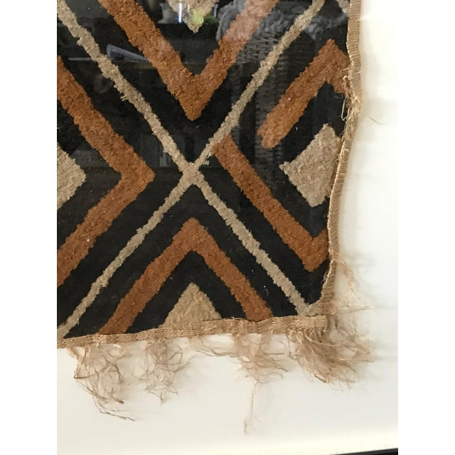 African Antique African Diamond Pattern Kuba Cloth Tapestry in Custom Frame For Sale - Image 3 of 7