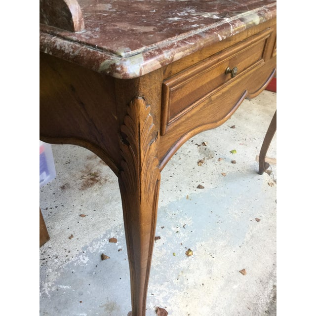 Wood 1920s French Walnut & Marble Vanity For Sale - Image 7 of 10