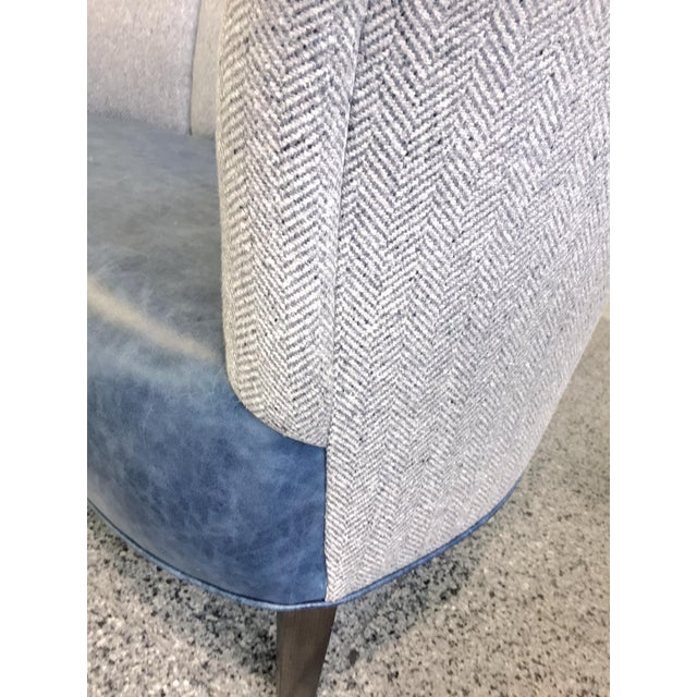 Blue Slagelse Mobelvaerk Reupholstered Danish Channel-Back Settees - A Pair For Sale - Image 8 of 12