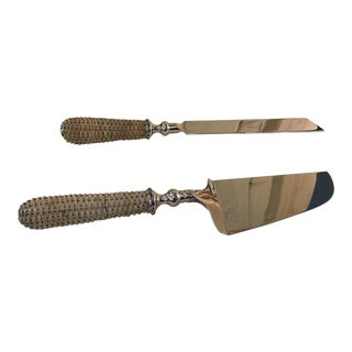 Wicker Handle Serving Set - A Pair