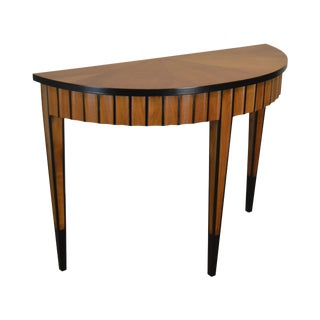Biedermeier Style Custom Quality Demilune Console Table For Sale