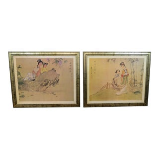 Japanese Paintings - a Pair For Sale