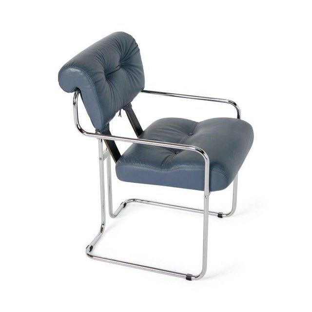 Blue-Grey Leather Tucroma Chair by Guido Faleschini for I4 Mariani- Set of 6 For Sale - Image 10 of 13