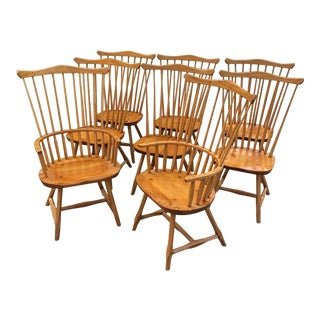 Vintage Hunt Country Oak Comb Back Chairs - Set of 8 For Sale