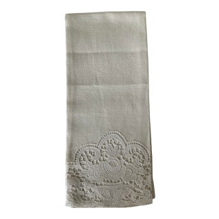 Antique Irish Linen Hand Towel For Sale