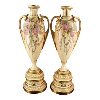 Antique Royal Worcester Blush Ivory Floral Urns - a Pair For Sale