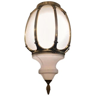intage Gilt Bronze and Glass Street Light Lantern Pendant Chandelier For Sale