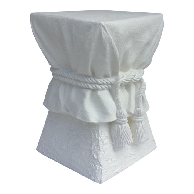 John Dickinson Attributed Draped Plaster Side Table Pedestal For Sale