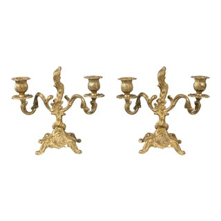 Antique Italian Gilded Bronze Candelabras - a Pair For Sale