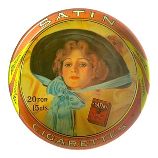 "Vintage Mid Century "" Satin Turkish Cigarettes "" Collector's Lithograph Round Tin Serving Tray For Sale"