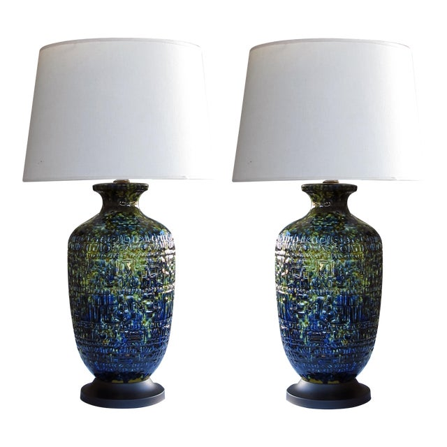 A Massive and Richly-Colored Pair of American 1960's Ceramic Lamps With Blue, Green and Yellow Drip Glaze For Sale