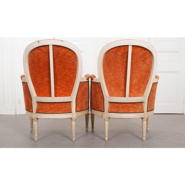 French 19th Century Painted Louis XVI Style Bergères- A Pair For Sale - Image 4 of 13