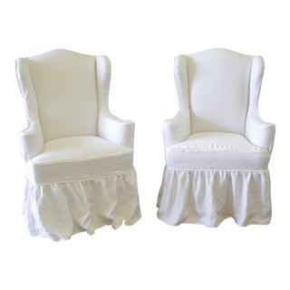 Modern White Linen Slip Covered Wingback Chairs With Ruffle Skirt - a Pair