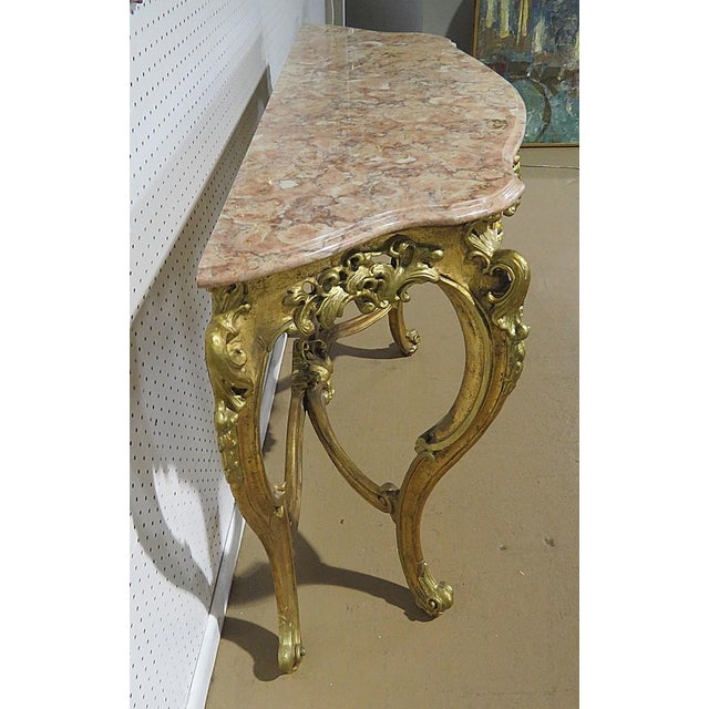 Early 20th Century Florentine Style Marble Top Console With Mirror For Sale - Image 5 of 12