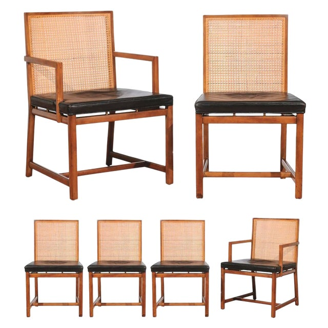 Rare Surviving Set of Six Coveted Cane Dining Chairs by Michael Taylor for Baker For Sale