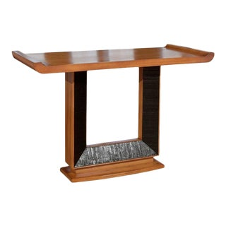 Iconic Altar Console by Paul Frankl for Brown Saltman in Ribbon Mahogany For Sale