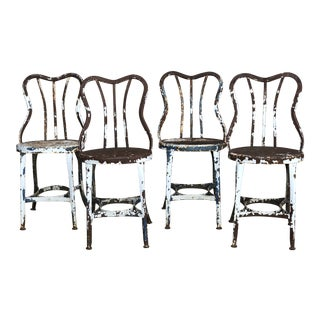 Early Toledo Uhl Steel Ice Cream Parlor Chairs - Set of 4 For Sale