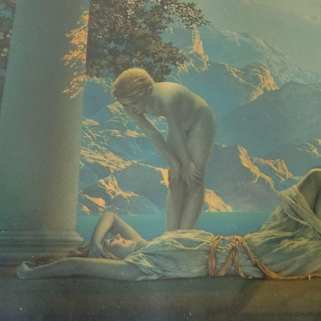 Lithograph by Maxfield Parrish titled 'Daybreak'. In its original frame. There is some glare and reflections in the photos...