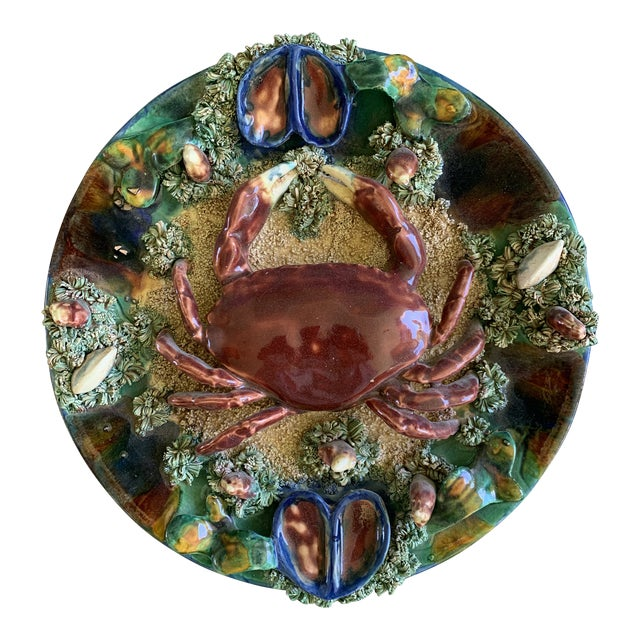 Minton Crab Majolica Palissy Plate For Sale
